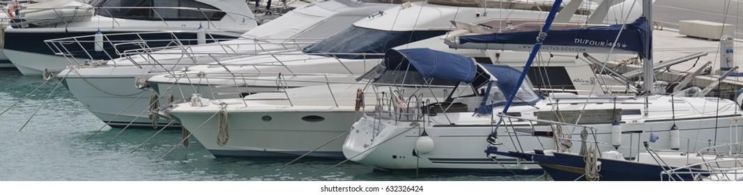 Italy, Sicily, Mediterranean sea, Marina di Ragusa; 27 April 2017, luxury yachts in the port - EDITORIAL