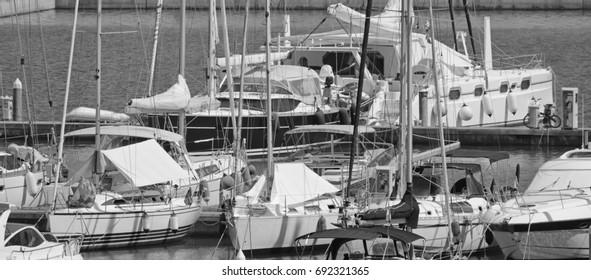 Italy, Sicily, Mediterranean sea, Marina di Ragusa; 8 August 2017, luxury yachts in the port - EDITORIAL