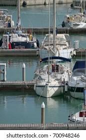 Italy, Sicily, Mediterranean sea, Marina di Ragusa; 22 August 2017, luxury yachts in the port - EDITORIAL