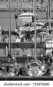 Italy, Sicily, Mediterranean sea, Marina di Ragusa; 15 September 2017, luxury yachts in the port - EDITORIAL