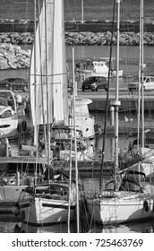 Italy, Sicily, Mediterranean sea, Marina di Ragusa; 30 September 2017, luxury yachts in the port - EDITORIAL