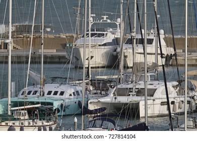 Italy, Sicily, Mediterranean sea, Marina di Ragusa; 4 October 2017, luxury yachts in the port - EDITORIAL