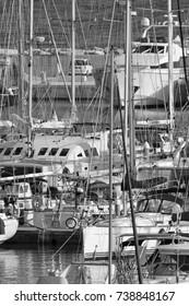 Italy, Sicily, Mediterranean sea, Marina di Ragusa; 21 October 2017, luxury yachts in the port - EDITORIAL
