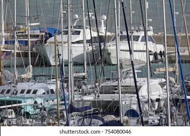 Italy, Sicily, Mediterranean sea, Marina di Ragusa; 13 November 2017, luxury yachts in the port - EDITORIAL