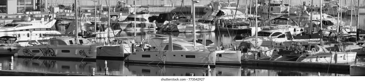 Italy, Sicily, Mediterranean sea, Marina di Ragusa; 12 December 2017, luxury yachts in the port - EDITORIAL