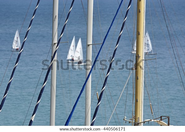 Italy, Sicily, Mediterranean sea, Marina di Ragusa; 21 June 2016, dinghy competition outside the marina - EDITORIAL