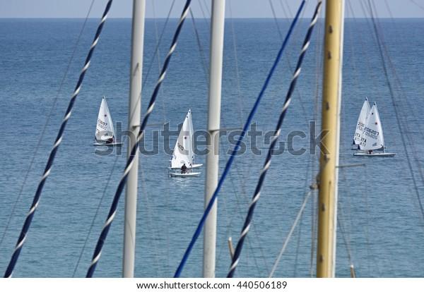 Italy, Sicily, Mediterranean sea, Marina di Ragusa; 21 June 2016, dinghy competition outside the marina - EDITORIAL