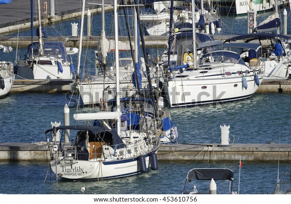 Italy, Sicily, Mediterranean sea, Marina di Ragusa; 16 July 2016, boats and luxury yachts in the port - EDITORIAL