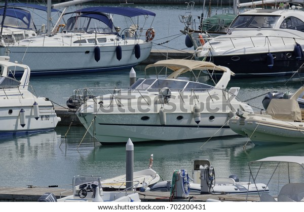 Italy, Sicily, Mediterranean sea, Marina di Ragusa; 24 August 2017, boats and luxury yachts in the port - EDITORIAL