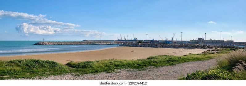 Italy, Sicily, Mediterranean sea, Pozzallo (Ragusa Province); 15 January 2019, view of the southern coastline of the island and Pozzallo port - EDITORIAL