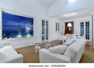 Italy, Sicily, Mediterranean Sea, Torre di Mezzo (Ragusa Province); 18 June 2018, private house living room at sunset - EDITORIAL