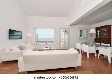 Italy, Sicily, Mediterranean Sea,Torre di Mezzo (Ragusa Province); 18 June 2018, private house living room - EDITORIAL