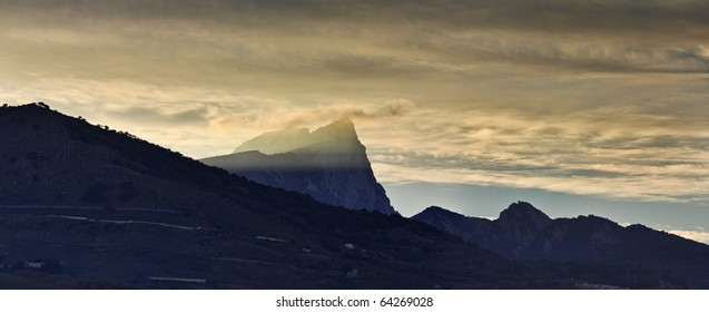 Italy, Sicily, Nebrodi mountains, panoramic view at sunset