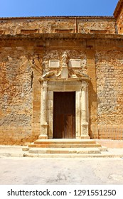 Italy, Sicily: Old side door of Mother Church in Sambuca.