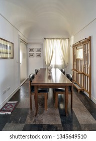 Italy, Sicily, Ragusa; 14 April 2015, elegant private house, dining room - EDITORIAL