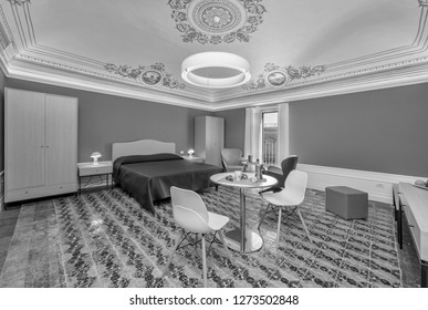 Italy, Sicily, Ragusa; 28 June 2018, old sicilian house bedroom with painted ceiling - EDITORIAL