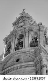 Italy, Sicily, Ragusa Ibla, the baroque facade of St. Joseph Church (18th century)
