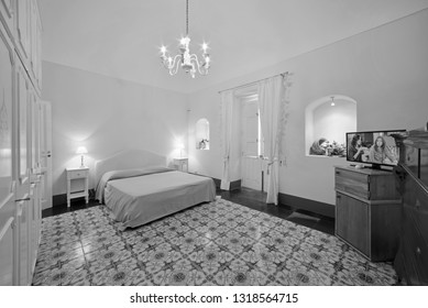 Italy, Sicily, Ragusa Province, countryside; 11 May 2018, elegant private farm house, bedroom - EDITORIAL