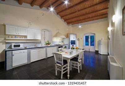 Italy, Sicily, Ragusa Province, countryside; 11 May 2018, elegant private farm house, view of the kitchen - EDITORIAL