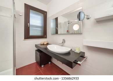 Italy, Sicily, Ragusa Province, countryside; 4 June 2018, elegant private house, bathroom - EDITORIAL