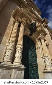 Italy, Sicily, Ragusa, view of the baroque St. John Cathedral facade (1751 a.C.)