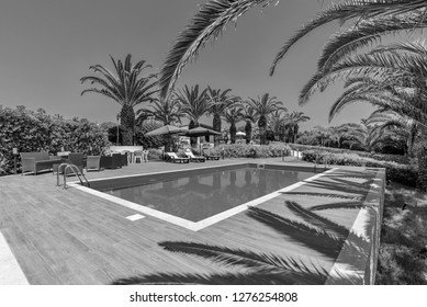 Italy, Sicily, Sampieri (Ragusa Province), countryside, stone house garden and swimming pool