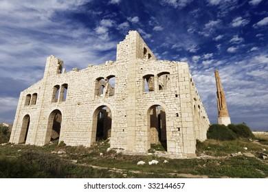 Italy; Sicily, Sampieri (Ragusa Province), ruins of an old bricks factory