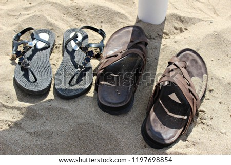 45c4ab112 Italy Sicily Sandals On Sand Stock Photo (Edit Now) 1197698854 ...