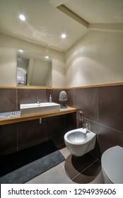Italy, Sicily, Scicli (Ragusa Province); 15 April 2015, apartment bathroom - EDITORIAL