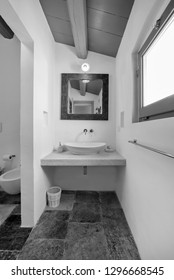 Italy, Sicily, Scicli (Ragusa Province); 20 April 2018, apartment bathroom - EDITORIAL