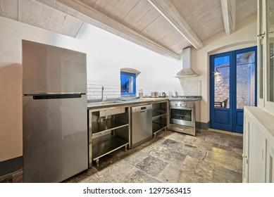 Italy, Sicily, Scicli (Ragusa Province); 20 April 2018, apartment kitchen - EDITORIAL