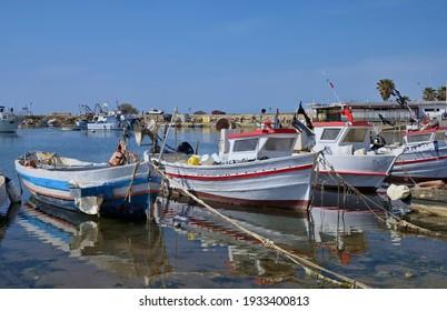 Italy, Sicily, Scoglitti (Ragusa Province), sicilian wooden fishing boats in the port