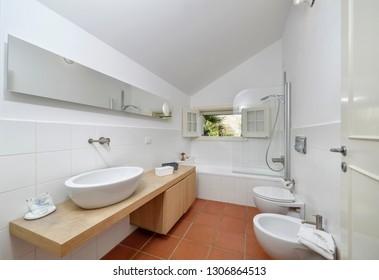 Italy, Sicily, Torre di Mezzo (Ragusa Province); 18 June 2018, private house bathroom - EDITORIAL