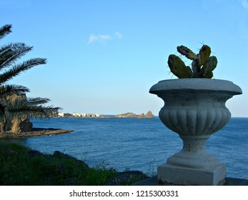 Italy, Sicily: View on Cyclops bay.