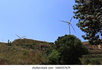 Italy, Sicily: Wind turbines to sambuca.