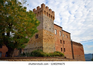 Italy, Siena, Casole d'Elsa, October 2018 view of the historic and ancient castle of the eleventh century of Casole d'Elsa in Tuscany Italy