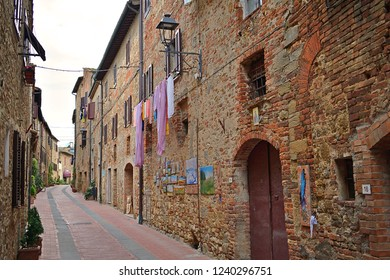 Italy, Siena, Casole d'Elsa, October 2018 narrow alley of the medieval village of Casole d'Elsa in Tuscany Italy