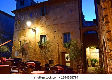 Italy, Siena, Colle Val d'Elsa, December 2017 Night view of the medieval town of Colle val d'Elsa in Tuscany perched on a high hill in the province of Siena