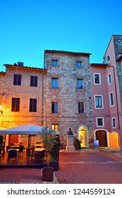 Italy, Siena, Colle Val d'Elsa, December 2017 picturesque square in the historic center of Colle val d'Elsa in Tuscany, a medieval village perched on a high hillock in the province of Siena