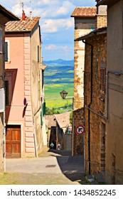 Italy, Siena, Montalcino, June 2019 urban landscape of the historic center of Montalcino in Tuscany. The town is known for the production of the famous Brunello wine