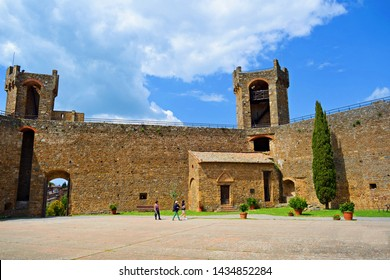 Italy, Siena, Montalcino, June 2019 inner courtyard of the medieval fortress of Montalcino in Tuscany. The town is known for the production of the famous Brunello wine