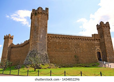 Italy, Siena, Montalcino, June 2019 external view of the medieval fortress of Montalcino in Tuscany. The Sienese locality is known for the production of Brunello wine