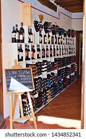 Italy, Siena, Montalcino, June 2019 shop selling the finest wines of Tuscany located in the village of Montalcino, a town famous for the production of Brunello di Montalcino red wine