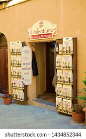 Italy, Siena, Montalcino, June 2019 Tuscan shop with the famous Brunello di Montalcino red wine produced in the vineyards in Tuscany in the province of Siena for sale.