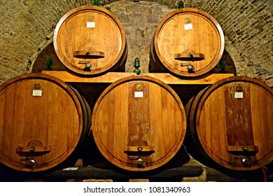 Italy, Siena, Montepulciano, July 2017 wine cellars with barrels containing the famous red wine Nobile di Montepulciano produced in Tuscany in the municipality of Montepulciano in Siena