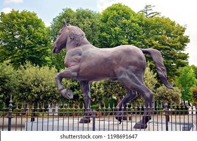 Italy, Siena, Montepulciano, July 2017 reconstruction of the monument the Horse designed by Leonardo da Vinci, in memory of Francesco Sforza, located inside the Garden of Poggiofanti, in Montepulciano