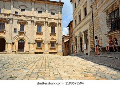Italy, Siena, Montepulciano, July 2017 view of the historic center of Montepulciano, medieval city of Tuscany also known for its red wine Nobile