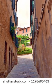 Italy, Siena, Montepulciano, July 2017 old alley in the historic center of Montepulciano, medieval town of Tuscany also known for its red Nobile wine