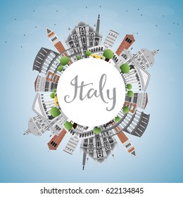 Italy Skyline with Landmarks and Copy Space. Business Travel and Tourism Concept with Historic Architecture. Image for Presentation Banner Placard and Web Site.