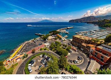 Italy. Sorrento. Fantastic scenery of Sorrento Coast from harbour. There is Mount Vesuvius in the background